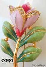 VINTAGE 1940s signed CORO large size HAND PAINTED long stem PINK FLOWER pin PK-2