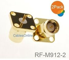2-Pack SMA Male Panel Mount Gold Solder Post Connector RF Adapters, RF-M912-2