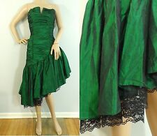 Vintage 80s Roberta emerald green asymmetric evening prom occasion dress xsmall