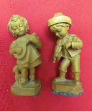 VINTAGE MINIATURE BAKELITE FIGURINE SET -BOY PLAYING FIDDLE , GIRL PLAYING BANJO