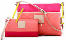 NWT COACH LEGACY WEEKEND COLORBLOCK NYLON HIPPIE & WALLET 24864 CORAL PINK RUBY