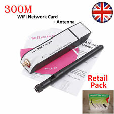 300Mbps Pro USB Wireless Wifi scheda di rete LAN ADAPTER DONGLE PC Laptop + antenna