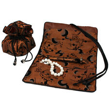 Travel Set Jewelry Organizer Soft Silky Abstract Floral Burnt Orange PCH120CST