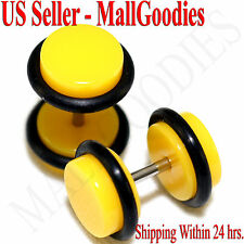 2057 Yellow Fake Cheaters Illusion Faux Ear Plugs 16G Bar 0G = 8mm - 2pcs