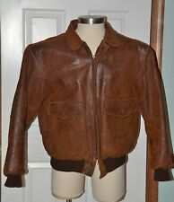 Adventure Bound Brown Bomber Distressed Mens Leather Jacket XL
