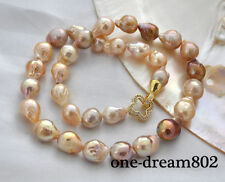 """Real 17"""" 14mm baroque baby pink Lavender reborn keshi pearl necklace"""