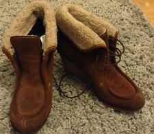 Next U.K 4 gorgeous brown suede fur trim ankle boots wedge heel