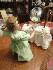 "DANBURY MINT GOING OUT NORMAN ROCKWELL PORCELAIN LADY DOLL 17"" w vanity table"