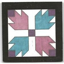 Dolhouse miniatures handcrafted wood barn quilt, bear claw in purple & blue
