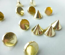 100 Gold Rivet Stud Spikes - 10mm - Acrylic - Sew on - Glue on -  Rivets Studs