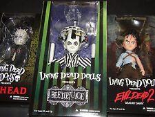 3 LIVING DEAD DOLLS (BEETLEJUICE + EVIL DEAD + HELLRAISER) MEZCO Pinhea Ash Show
