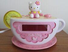 Hello Kitty KT2055 Tea Cup Digital Alarm Clock AM FM Radio Nightlight Fairy Kei