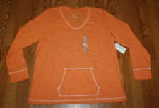 NWT Womens LIZWEAR Orange Thermal Shirt Top Size S Small