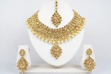 Indian Bollywood Bridal Gold Tone Necklace Earrings Set Ethnic Fashion Jewelry 1