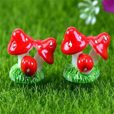 FD2297 Mushroom Miniature Dollhouse Ornament Flower Pot Plant DIY Craft Red 1pc