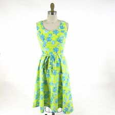 10 - Lilly Pulitzer Vintage Yellow Blue Floral A-Line Tie Waist Sun Dress 0000MB