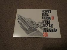 NOS 1966 MERCURY COMET CYCLONE GT INDY PACE CAR DEALER PROMO POSTCARD UNUSED