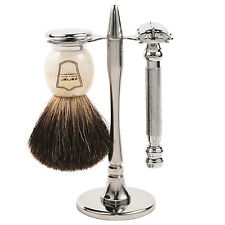 Parker 99R Shave Set - Safety Razor, Stand & 100% Black Badger Brush Included