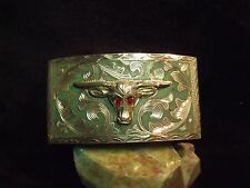 VINTAGE 40'S MEXICO HEAVY HAND MADE RSS STERLING BULL HEAD DESIGN BELT BUCKLE