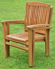 Qty 2 - Wave A-Grade Teak Wood Dining Stacking Arm Chair Pair Outdoor Furniture