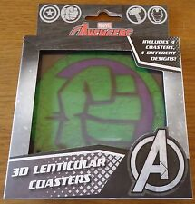 'MARVEL AVENGERS' 3D LENTICULAR COLLECTABLE DRINKS COASTERS.