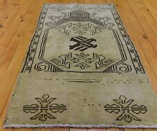"Beautiful Vintage 1950-1960s Wool Pile 1'7""×3' Natural Dyes Ushak Love Bird Rug"