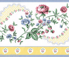 Victorian Traditional Floral Flower Rose Blue Yellow Lace Wall paper Border