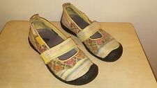 KEEN Floral & Strip Canvas Mary Jane Slip-on Rubber Soles Shoes Size 8