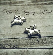 Pig Charms Flying Pig Charms Pendants Antiqued Silver When Pigs Fly 25 pieces