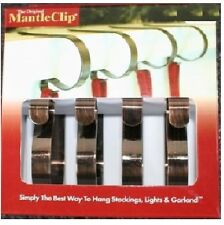 ORIGINAL MANTLE CLIPS BRONZE 4-PACK Christmas Stocking Hanger Decoration NEW