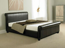 Sleigh Faux Leather Black 4FT6 Quality Bed double Leather bed