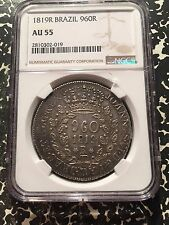 1819-R Brazil 960 Reis NGC AU55 Lot#G053 Large Overstruck Silver Coin!