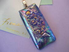 FIONA STUDIO Gold luster Fused Dichroic Glass Pendant  shimmering Icy Blue Pink