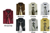 Men's Milano French Cuff Dress Shirt with Matching Tie and Handkerchief Set  35
