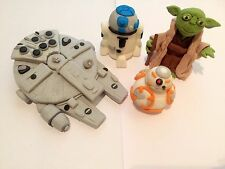 Edible In The Style Of Star Wars X4 Falcon, Yoda,  Cake Topper Icing Decoration