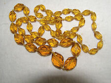 VINTAGE CZECH. LONG GOLDEN AMBER/TOPAZ CUT CRYSTAL BEADED NECKLACE- HAND KNOTTED