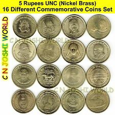 Very Rare 16 Different Nickel Brass 5 Rupees Commemorative Five Rupees UNC Set #