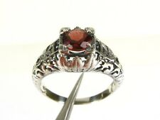 1.25ct Natural Round Cut Garnet Victorian Deco 925 Sterling Filigree Ring s7