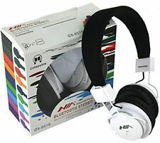 WHITE NIA Collapsible Micro SD/FM Radio/MP3 Player Bluetooth Headphone With Mic