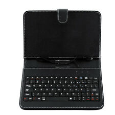 Black Leather Stand Case with MINI Micro USB Keyboard For 7 Inch Tablet