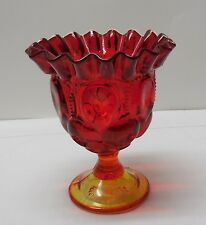 Red Orange and Yellow Glass Vase or Candy Dish Ruffled Edge Vintage