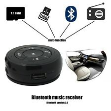 Car Wireless Bluetooth Phone Music Receiver Adapter Aux FM TF USB-Flash Function