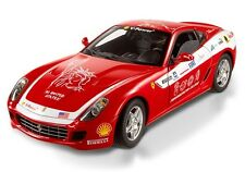 FERRARI 599 GTB FIORANO DIE CAST RED W/ WHITE 1/18 BY HOT WHEELS ELITE L7117