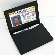 BLACK GENUINE LEATHER Men's Window ID Credit Cards Thin Wallet expandable pocket