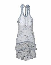 NWT ERMANNO SCERVINO Halter Open Back Ruffle Blue Dress Size 26/40 Made in Italy