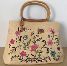 Vintage FOSSIL Beige Wicker Straw Leather Floral Embroidered Handbag Tote Purse