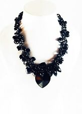 USA SELLER Fashion Necklace Unique Charming Fancy Vogue Chic Party Heart Black