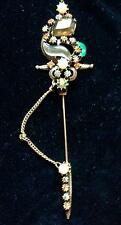 "VINTAGE FLORENZA ORNATE STICK PIN BEJEWELED SWORD Rhinestones Pearls 5 1/2"" Long"