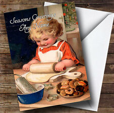 Child Baking Vintage Traditional Personalised Christmas Card