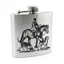HUNTING SCENE 6OZ STAINLESS STEEL HIP FLASK GIFT SHOOTING HORSES DOGS MENS RETRO